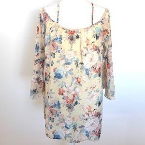 Tobi Cold Shoulder Strappy Back Floral L/S Dress S